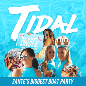 Tidal Zante boat party Biggest boat party dark 100%. single