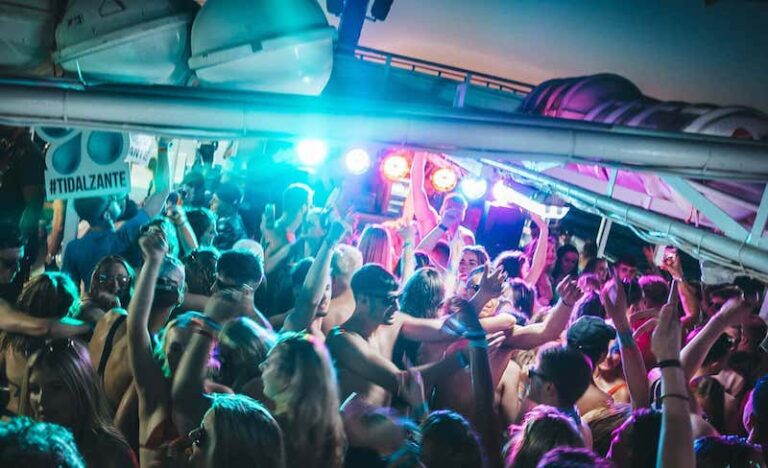 Tidal Zante boat party overview hands up
