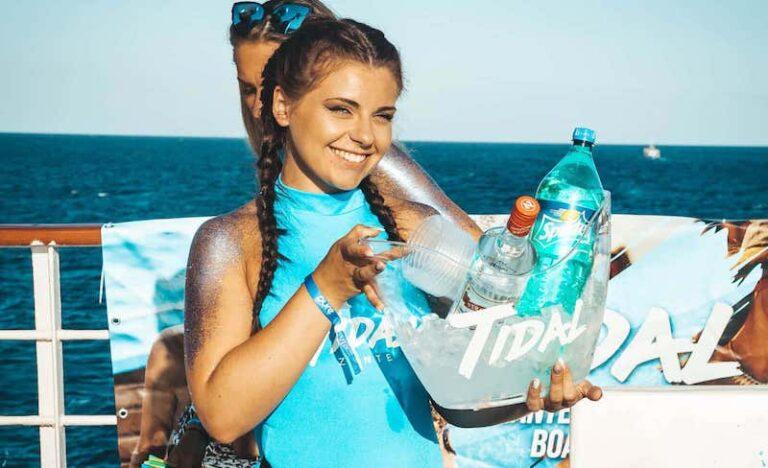 Tidal Zante boat party Waitress bottle bucket