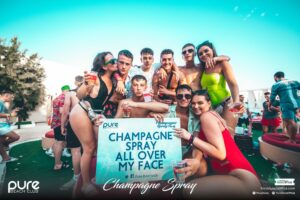 Pure Champagne Spray Group Zante Pure Beach Club