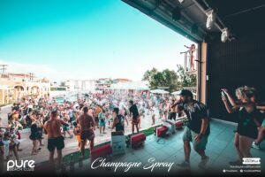 Pure Champagne Spray Games on Stage Zante Pure