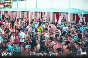 Pure Champagne Spray Big Crowds Dancing