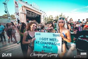 Girls got wet at Pure Champagne Spray