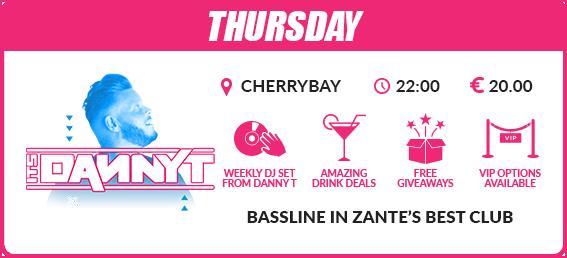 Zante mega deal events package Thursday Danny T